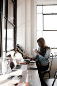 A girl at a desk